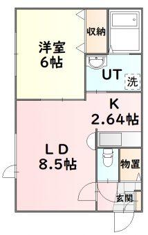 GIROコーポ201号室間取図